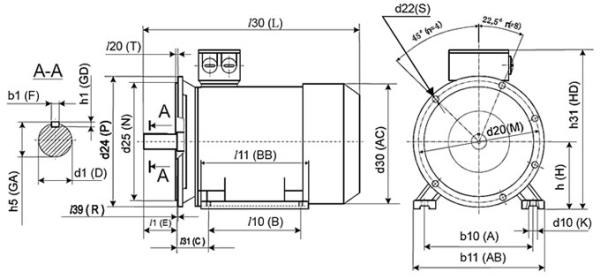 Монтажное исполнение 2081 электродвигателя переменного тока IEK DRIVE