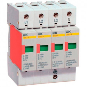 Ограничитель перенапряжения четырехполюсный ОПС1-В 4п 30кА 400В (MOP20-4-B)