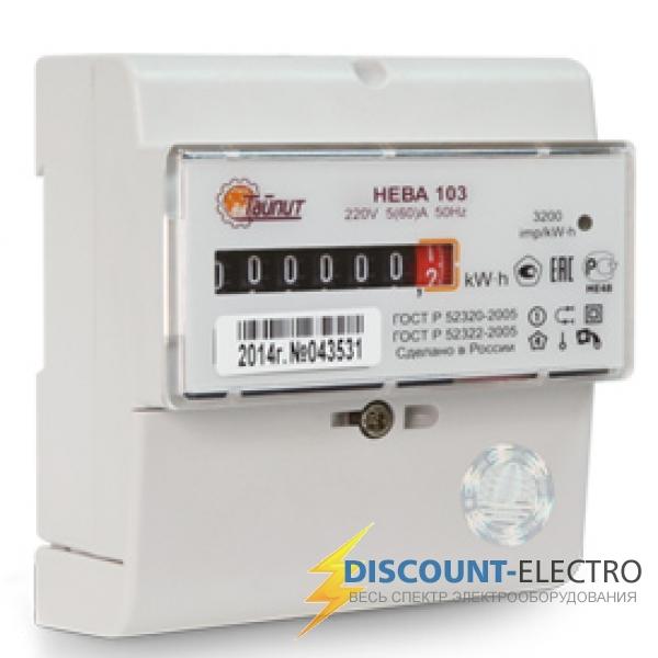 Счетчик электроэнергии однофазный однотарифный Нева103 1SO 60/5 Т1 D 220В ОУ неразборный корпус