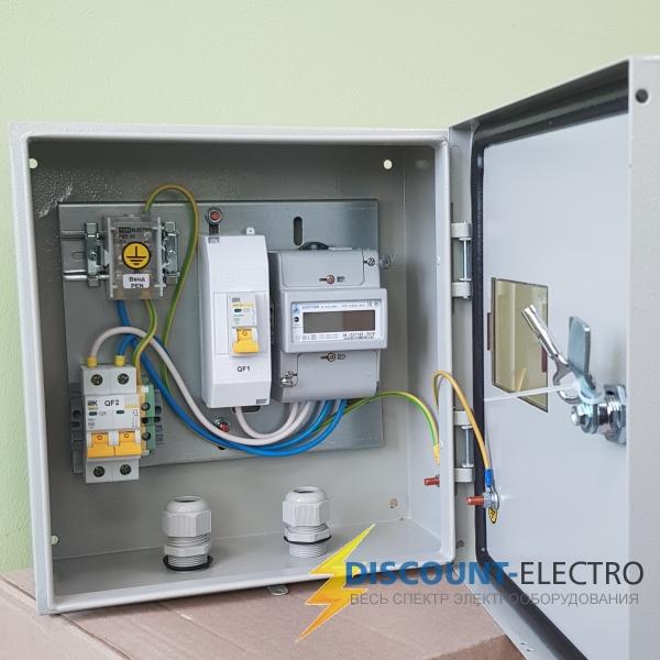 Щит учета электроэнергии однофазный 7кВт 220в IP66 в сборе на опору/ дом